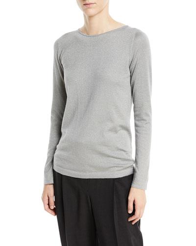 Cashmere-Blend Metallic Long-Sleeve Sweater