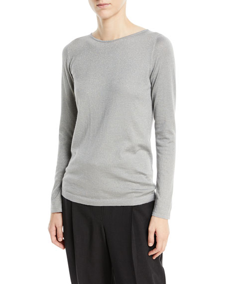Cashmere-Blend Metallic Long-Sleeve Sweater