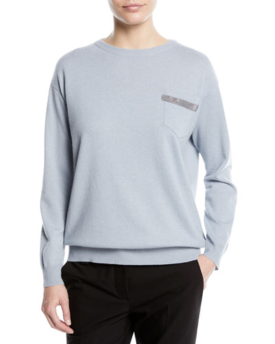 Crewneck 2-Ply Cashmere Pullover Sweater with Pocket Detail