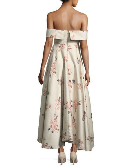 Off-the-Shoulder Bustier Floral-Jacquard Tea-Length Cocktail Dress
