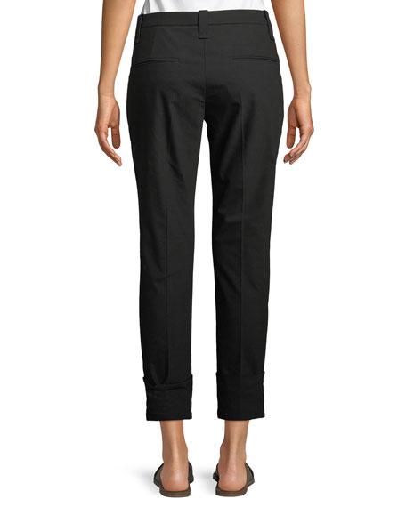 Straight-Leg Crop Barrel-Cuff Cotton Twill Pants