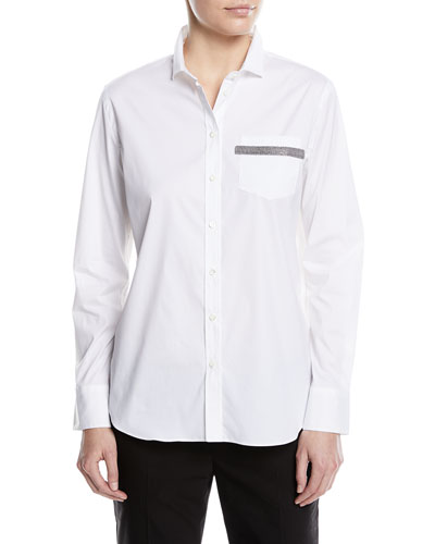 Button-Front Long-Sleeve Cotton Poplin Blouse with Pocket Detail