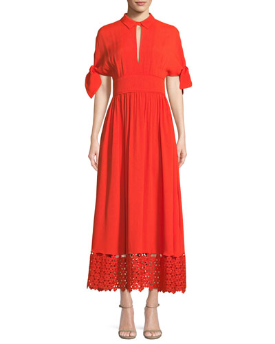 Textured Silk Cloque Tie-Sleeve Dress with Embroidered Lace Hem