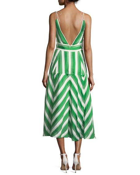 High-Neck Sleeveless Organza Striped Jacquard Long Dress
