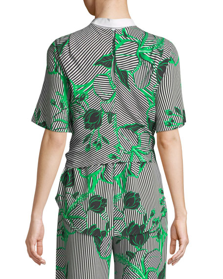 Linear Floral-Printed Tie-Front Top with Detachable Collar