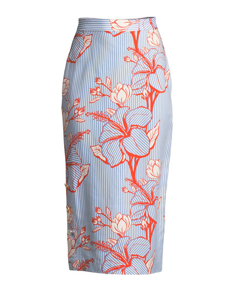 Linear Floral-Printed Crepe Pencil Skirt