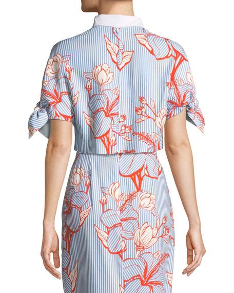 Linear Floral-Print Crepe Tie-Sleeve Crop Top