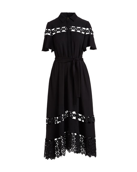 Flutter-Sleeve Textured Silk Cloque Shirtdress with Lace Inset