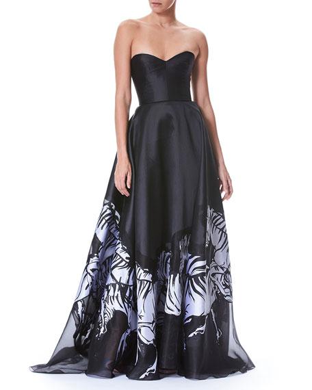febd1b4f25ec Carolina Herrera Strapless Belted Bustier Zebra-Print Evening Gown