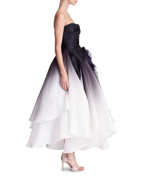 Strapless Ombre Gazaar Tea-Length Evening Gown w/ 3-D Floral Applique