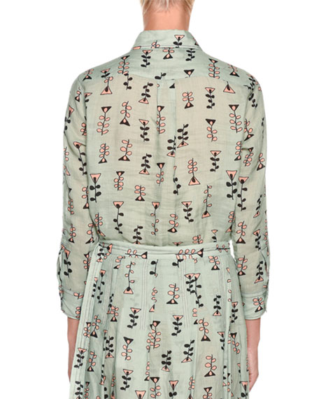 Long-Sleeve Button-Front Vine-Print Woven Blouse