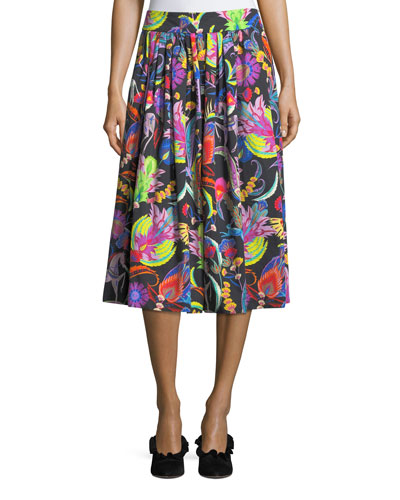 Paisley-Print Cotton Skirt