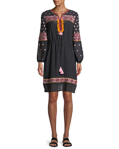 Savannah Embroidered Cotton Gauze Dress with Tassels