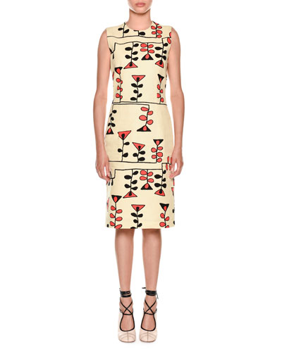 Sleeveless Vine-Print Sheath Dress