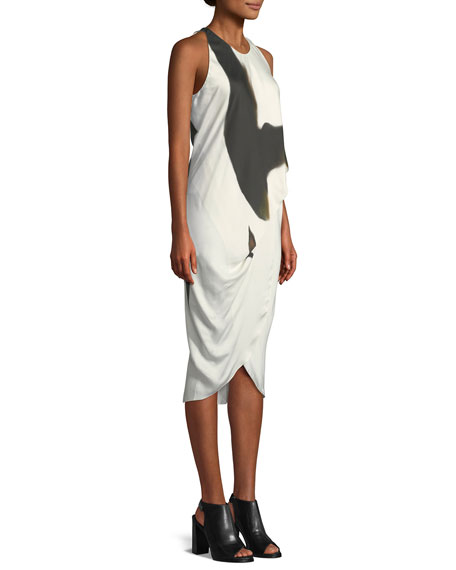 Sleeveless Side-Tucked Midi Dress