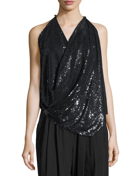 Sequined Draped Transformer Top in Black