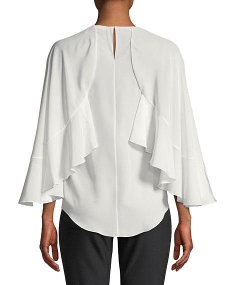 Silk Crepe de Chine Flutter-Sleeve Top
