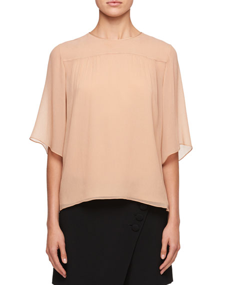 Half-Sleeve Crewneck Blouse