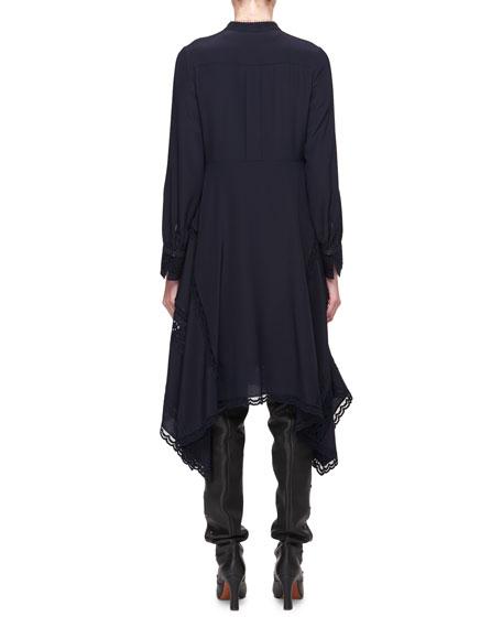 Band-Collar Lace-Trim Tunic Dress