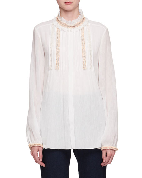 Beaded Ruffle-Neck Voile Blouse