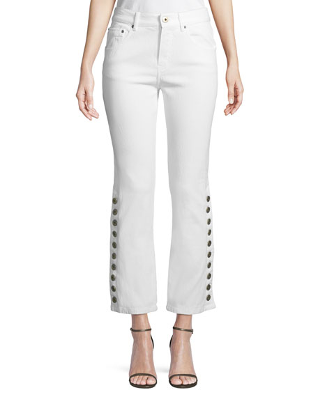 Button-Side Straight-Leg Cropped Jeans