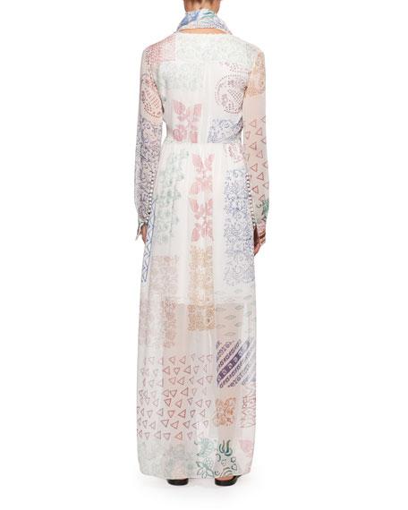 Patchwork Silk Maxi Dress