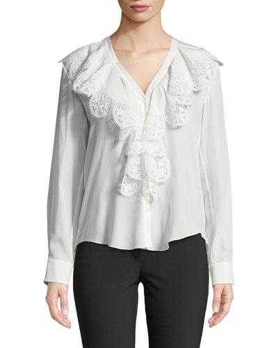 Ruffled Lace-Trim Silk Blouse