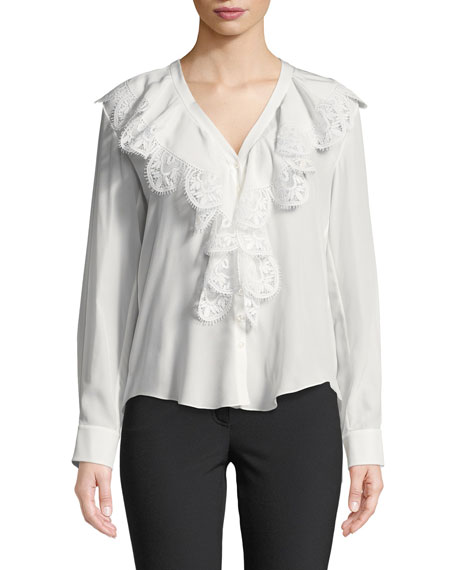 966d50b2ba130 Chloe Ruffled Lace-Trim Silk Blouse