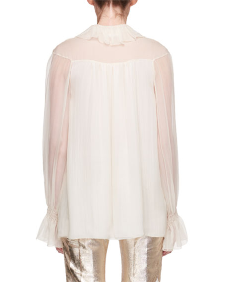 Asymmetric Ruffled Silk Blouse