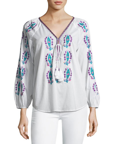 Rosette Embroidered Tassel-Tie Top