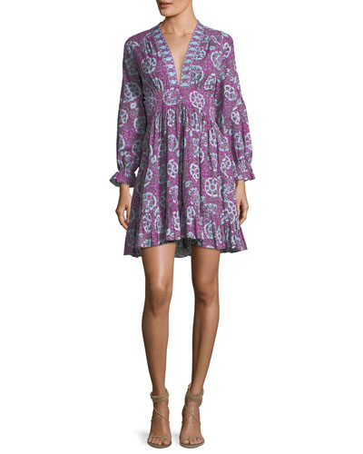 Sienna Paisley-Print Babydoll Dress