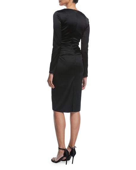 Polis Long-Sleeve Satin Cocktail Dress