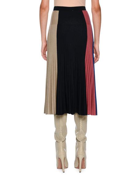Knitwear Wool-Blend Colorblock Midi Skirt, Dark Blue