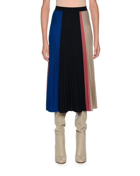 Knitwear Wool-Blend Colorblock Midi Skirt, Dark Blue