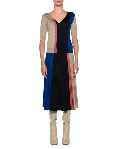 Knitwear Wool-Blend Colorblock T-Shirt, Dark Blue