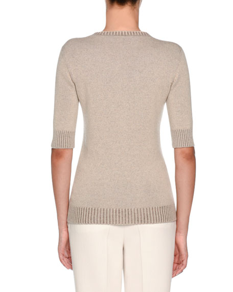 Knitwear Summer Cashmere Vanise T-Shirt, White Pattern