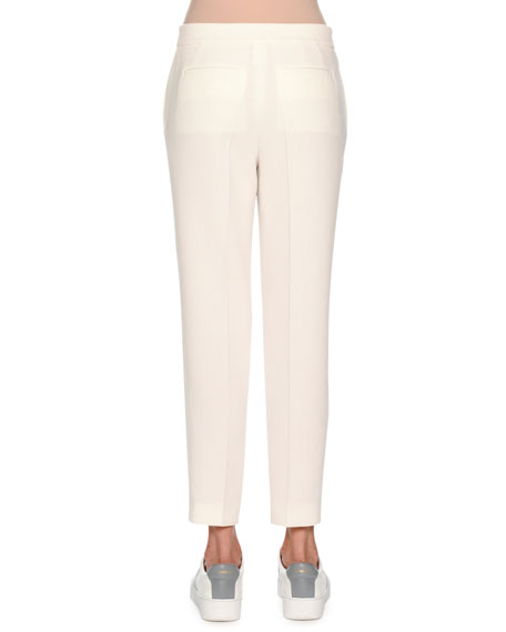 Double-Wool Crepe Slim Trousers, White