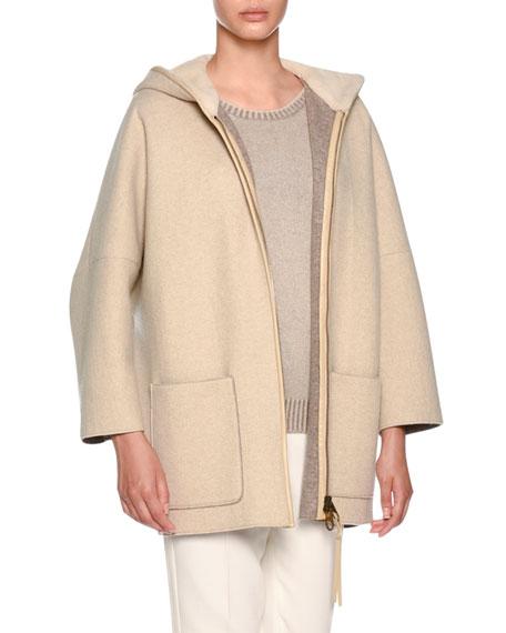 Zip-Front Mink Fur-Lined Hoodie Cape, Beige