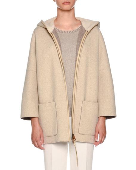 Agnona Zip-Front Mink Fur-Lined Hoodie Cape, Beige