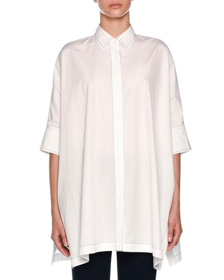 Popeline Ajour Poncho Shirt