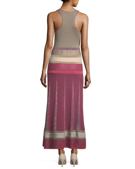 Sleeveless Mixed-Knit Maxi Dress