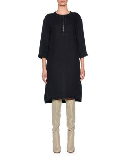 Round Zip Neck Linen-Blend Dress