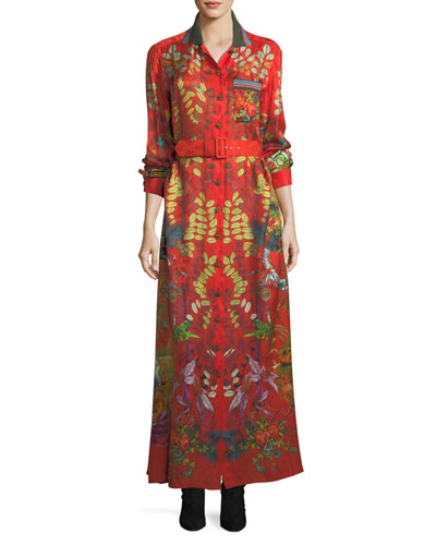 Collared Button-Front Printed Long Dress