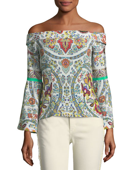 Off-the-Shoulder Paisley Blouse