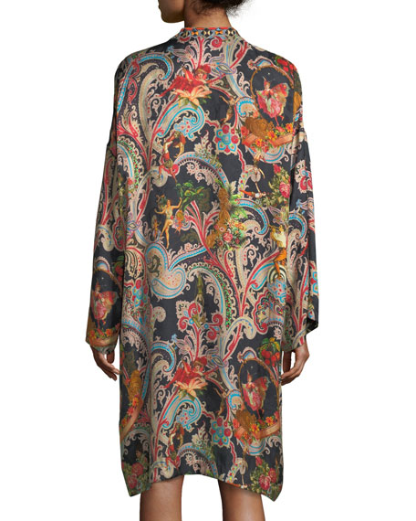 Garden Paisley-Print Caftan Dress