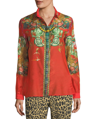 Cotton-Blend Mixed-Print Blouse