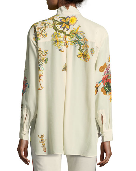 Tree of Life Silk Long-Sleeve Blouse