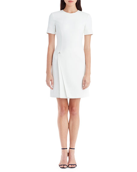 Jewel-Neck Short-Sleeve Sheath Cocktail Dress