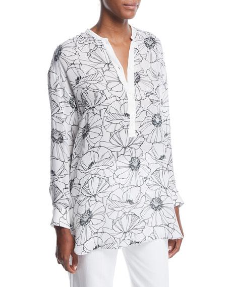 Cathy Floral-Print Silk Henley Shirt