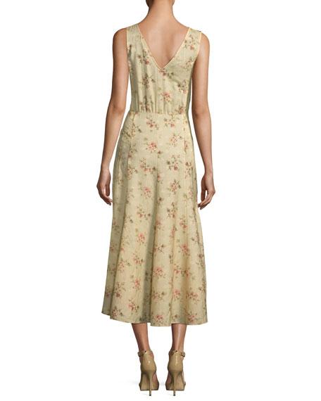 Melena Sleeveless Floral-Print Jacquard Midi Dress